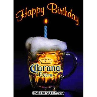 Feliz Cumpleaños Hombres. Tarjeta con una cerveza deseando feliz cumple. Para descargar gratis y enviar por Whatsapp. Happy birthday Corona beer