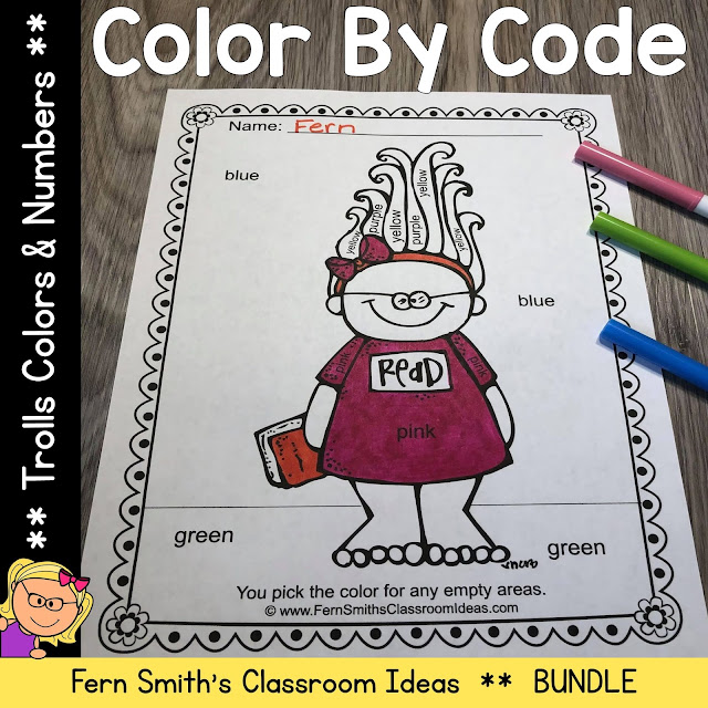 Click Here for the Troll Color By Code Kindergarten Know Your Numbers & Kindergarten Know Your Colors Printable Worksheets Resource #FernSmithsClassroomIdeas