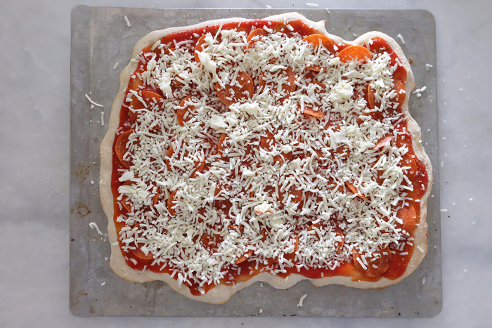 pizza dough topped ready to bake