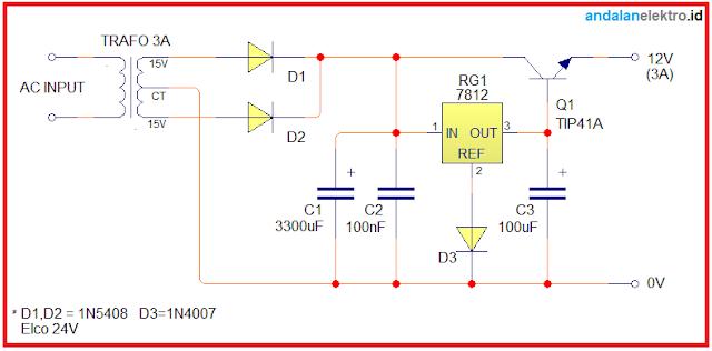 Skema Rangkaian Power Supply 12V 3A Trafo CT