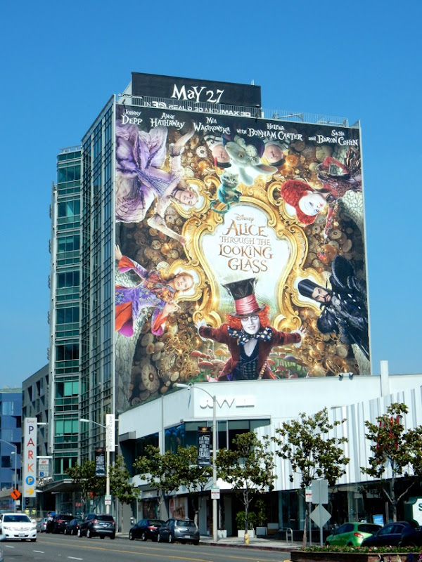 Giant Alice Through Looking Glass movie billboard Sunset Strip