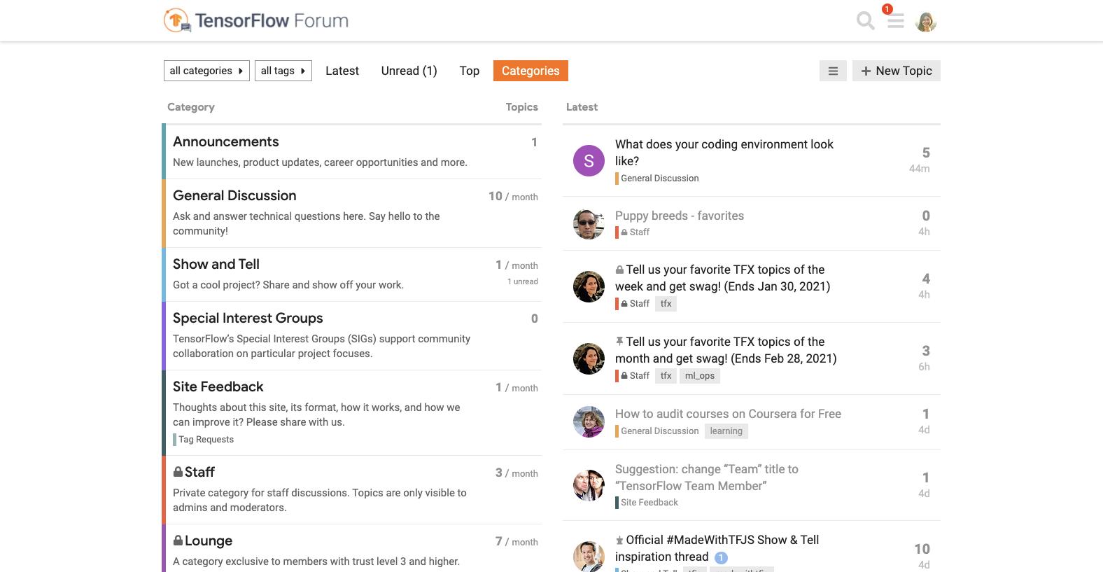 TensorFlow Forum page