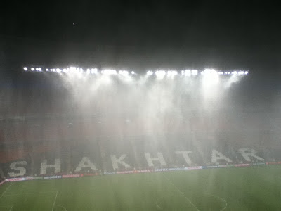 Downpour at Donbass Arena, Donetsk