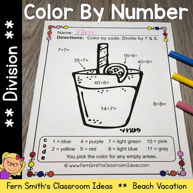 Click Here for the Color By Number Division Beach Vacation Fun Printable Worksheets Resource