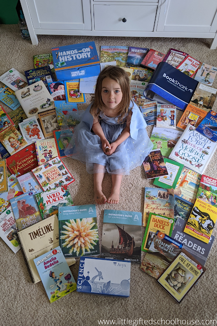 M with Bookshark Level A books for History, Read Alouds, Science, and Level 2 readers