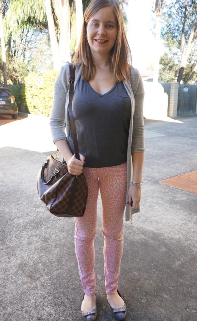 pink skinny leopard print jeans grey tee cardi LV speedy bag SAHM style | AwayFromBlue