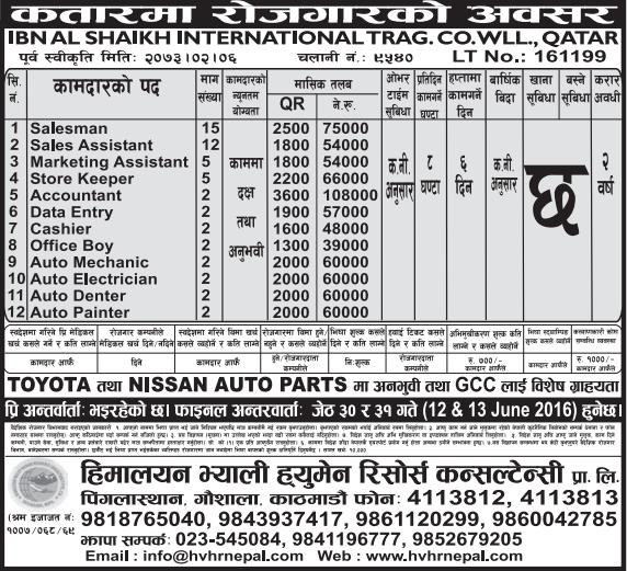 Free Visa, Jobs For Nepali In Qatar, Salary -Rs.1,00,000/