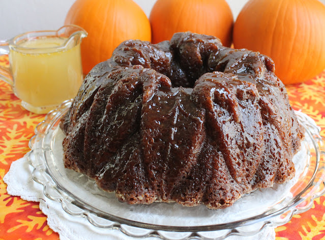 Food Lust People Love: This spiked pumpkin gingerbread Bundt combines your favorite pumpkin cake with your favorite gingerbread, brushed with a rum butter glaze, a fabulous treat for autumn.