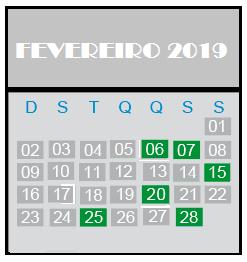 Calendário Obrigações mes de Fevereiro 2019