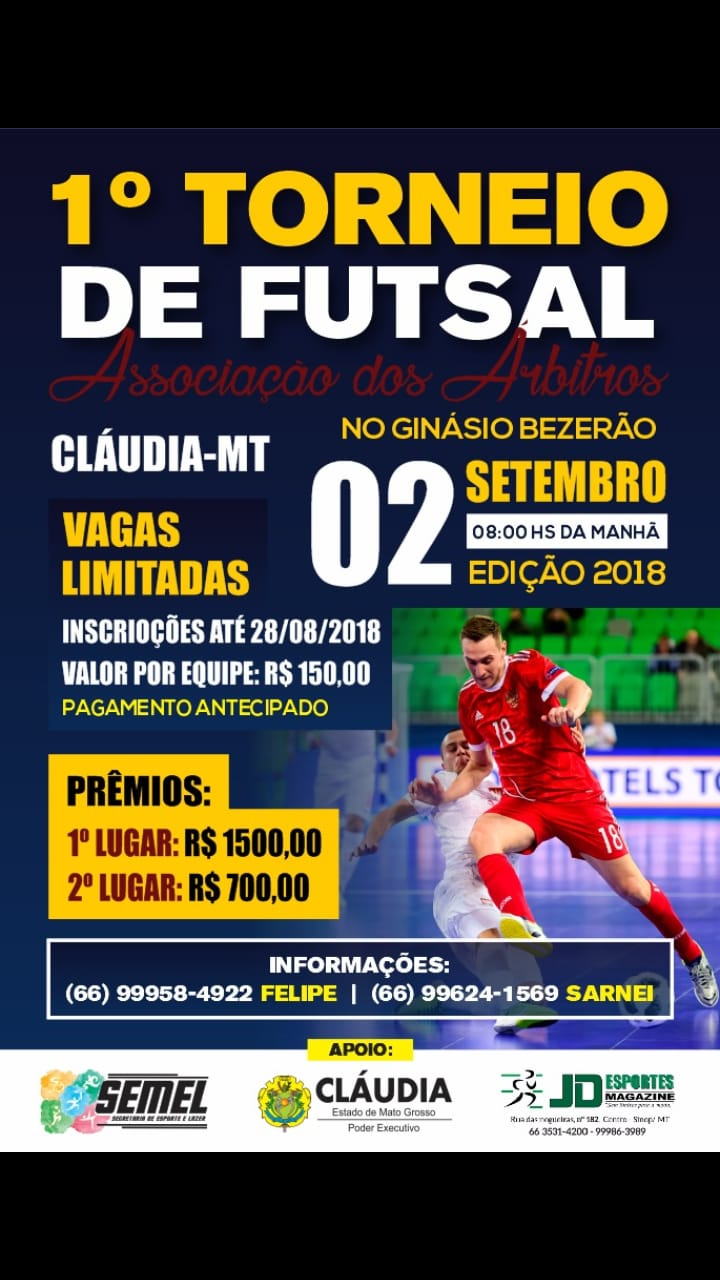 A associação de árbitros da cidade de Cláudia estará realizando dia  primeiro e dia dois de setembro o primeiro torneio de futsal categoria  livre masculino. 85d6fdde4d3fa