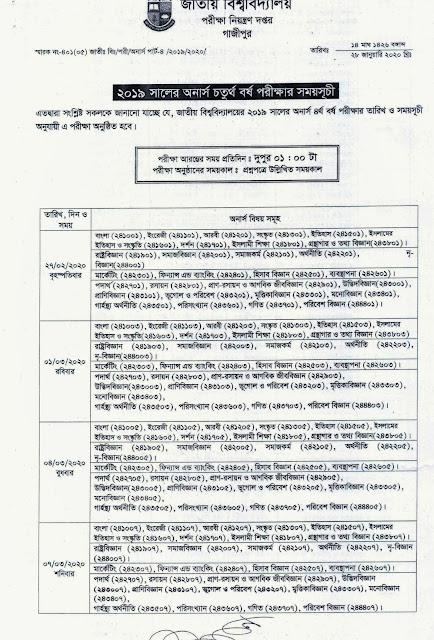NU 4th year Exam Routine 2020 nu.ac.bd