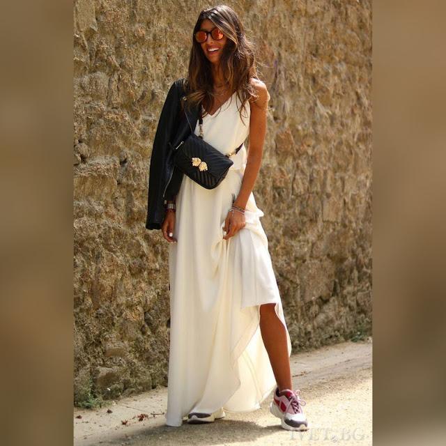 Αμάνικο μάξι άσπρο φόρεμα AGORA