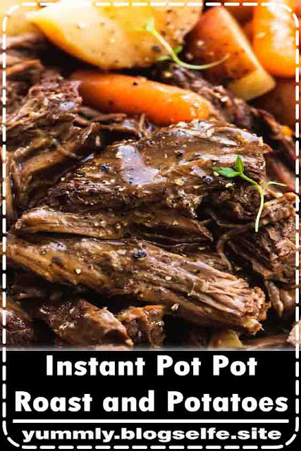 Juicy and tender instant pot pot roast and potatoes with gravy makes the perfect family-friendly dinner. This easy one pot dinner recipe will please even the picky eaters!  #instantpot #potroastrecipe #beef #easyrecipe #beeffoodrecipes