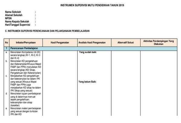 Form C tentang Instrumen Supervisi Perencanaan dan Pelaksanaan Pembelajaran