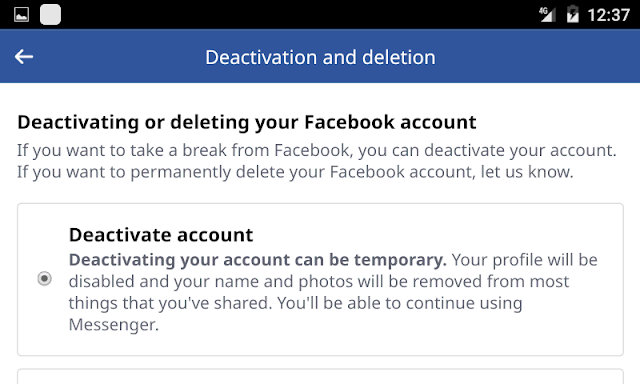 Facebook Account Deactivated