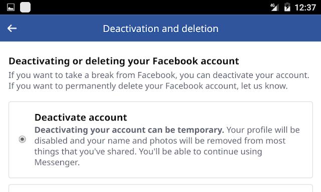 Facebook Account Deactivated