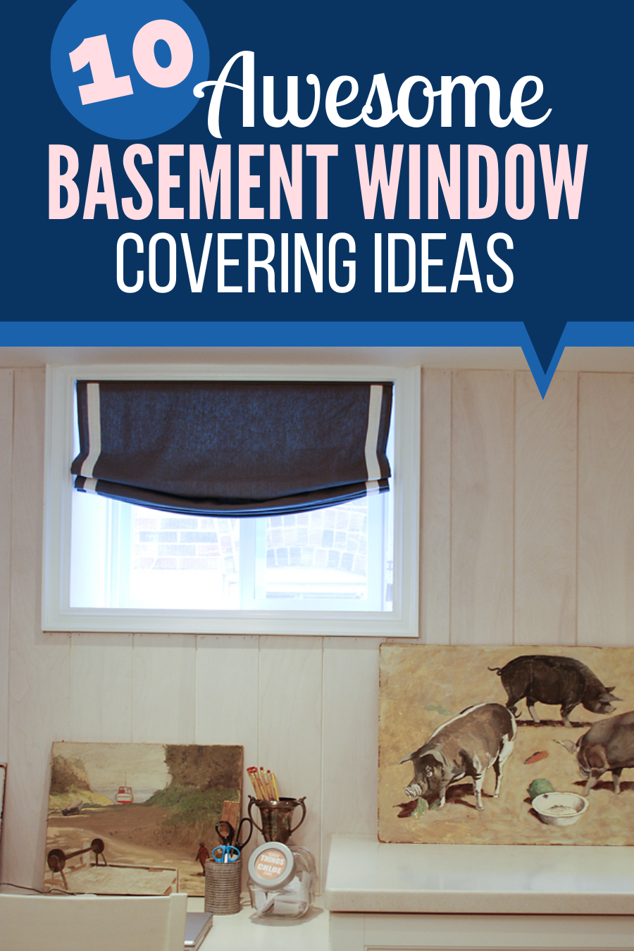 basement window coverings, basement window treatment, small basement window look bigger
