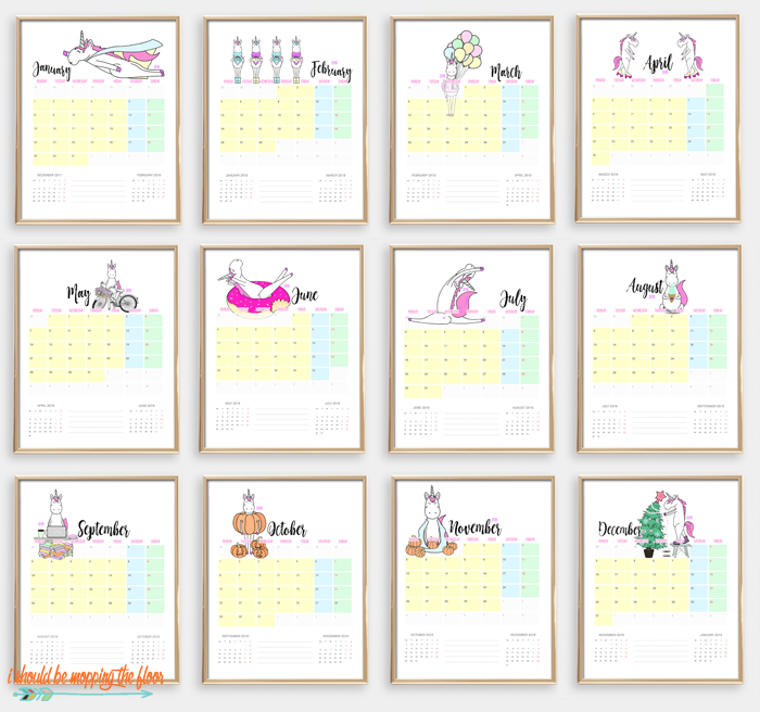 Calendar Vs Planner : I should be mopping the floor printable unicorn calendar