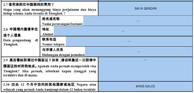 form visa china