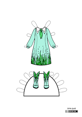 Kleit, millel on teravate nurkadega krae ja selle alla seotud rätt. Kleidi allserva on joonistatud mererohi ja mullid. Samasugused mererohulehed on ka saapastel, mis käivad kleidi juurde.