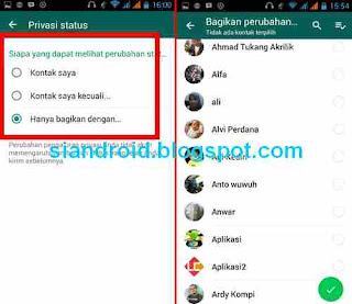 opsi setting privasi status whatsapp