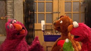 Telly, Baby Bear, parrot Ralphie, hamster Chuckie Sue, Elmo, Sesame Street Episode 4401 Telly gets Jealous season 44