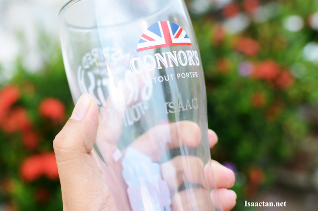 My name, personalized, etched unto the Connor's Stout Porter's Limited Edition British-inspired Pint Glass