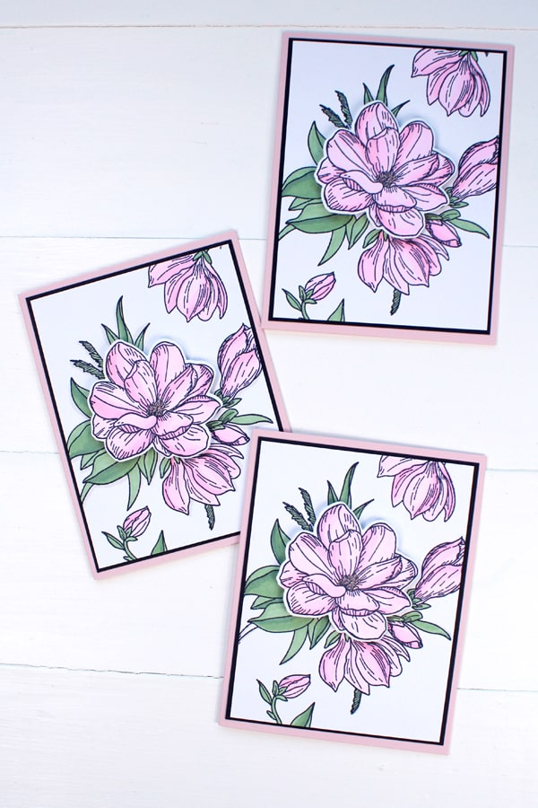 Handmade cards are so fun to make and these stunning floral cards look so fabulous. I am in love with flower stamps and love making floral themed cards. Make a stack of floral cards to have on hand for happy mail, sympathy cards, get well soon cards, birthday, anniversary or wedding cards. These flower cards can cover all occasions.