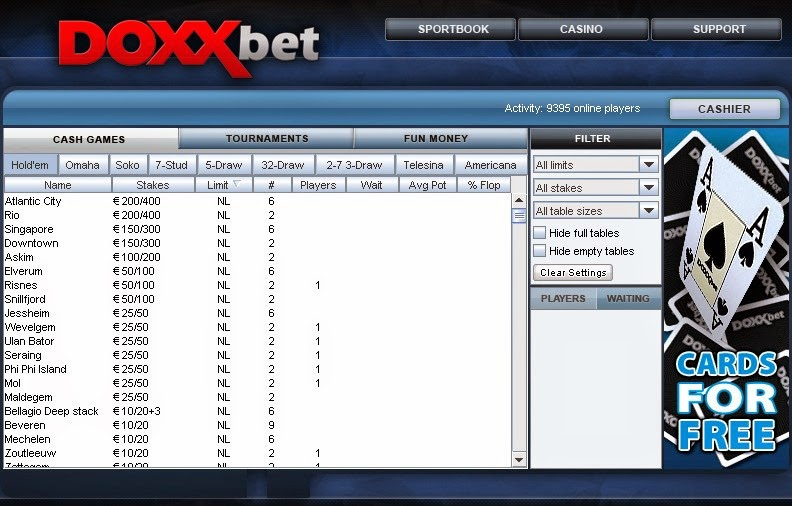 Doxxbet Poker Games Screen