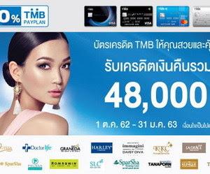 บัตรเครดิต TMB ให้คุณสวยและคุ้มได้มากกว่า รับเครดิตเงินคืนรวมสูงสุด 48,000 บาท