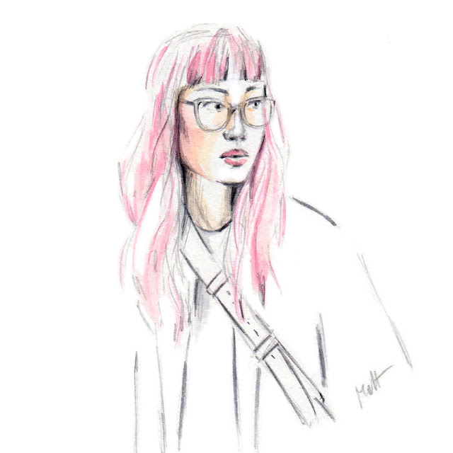 pink hair girl sketch