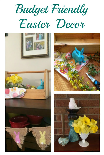 Use Dollar store finds and items from around the house to create a wooden toolbox centerpiece for your Easter decor.