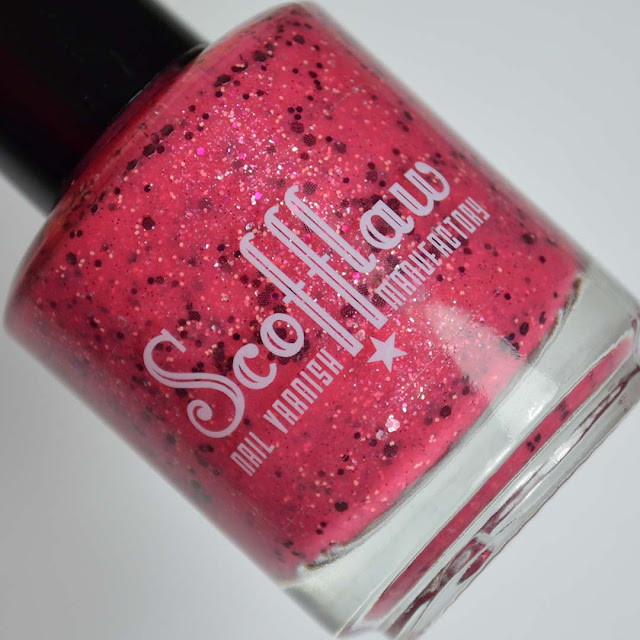 magenta nail polish bottle