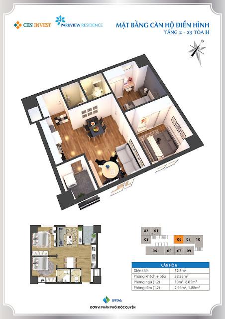 Thiết kế căn hộ 06 chung cư Park View Residence