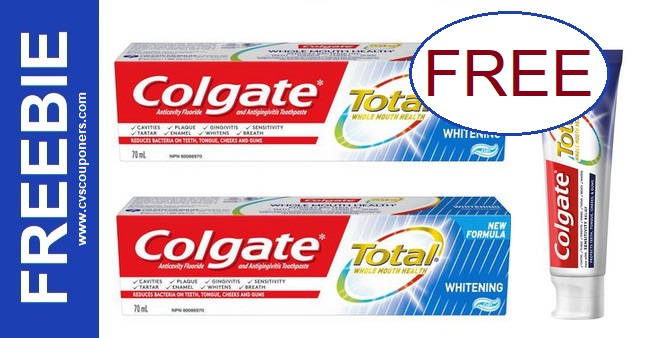 FREE Colgate Total Toothpaste at CVS 4-26-5-2