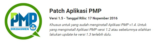 Download Patch Aplikasi PMP Versi 1.5 Tanggal Rilis 17 November 2016