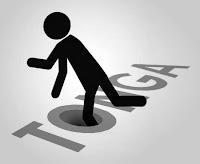 Tonga sözcüğündeki O harfinin içindeki kuyu tuzağına basarak düşen bir 3D adam çizimi