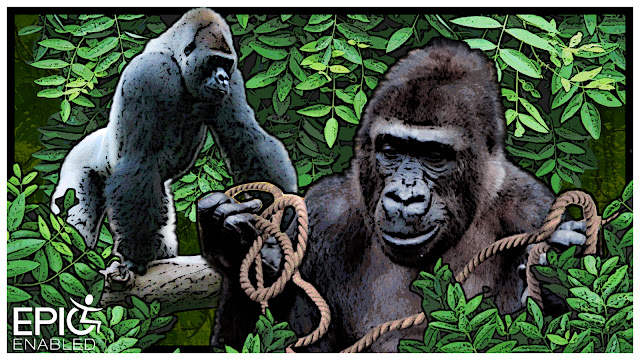 Two gorillas. A gorilla with a rope and a gorilla on a branch. Leafy background