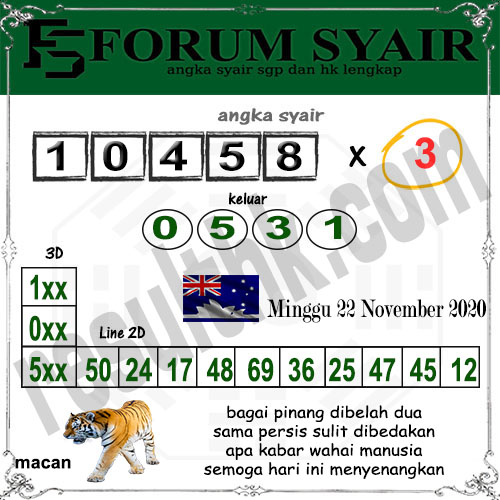 Forum Syair Sidney Minggu 22 November 2020