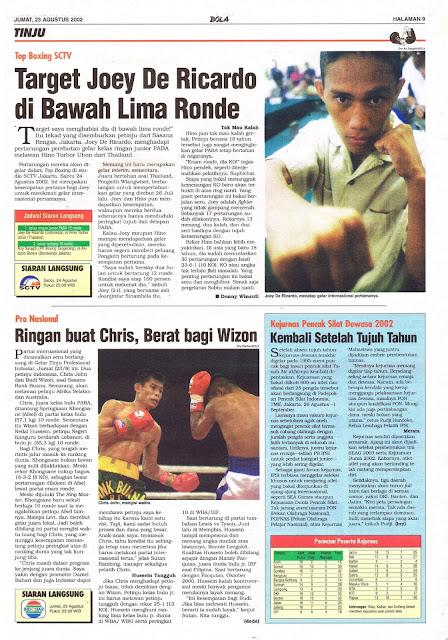 TINJU: TOP BOXING SCTV TARGET JOEY DE RICARDO DIBAWAH LIMA RONDE