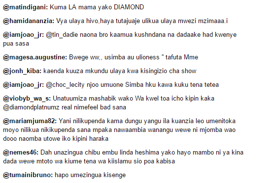 Instagram Comments from diamond platnumz page