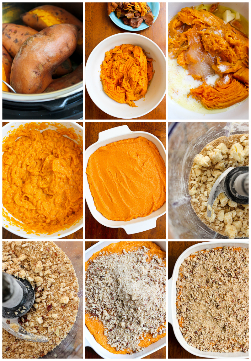 Brown Sugar Pecan Sweet Potato Casserole is made with creamy mashed sweet potatoes and an irresistible brown sugar pecan topping.  It is a holiday-worthy side dish that you will want to make year after year! #sidedishrecipe #sweetpotatoes #casserole