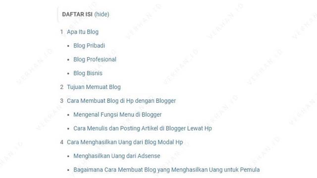 contoh daftar isi artikel di blog verhan.id