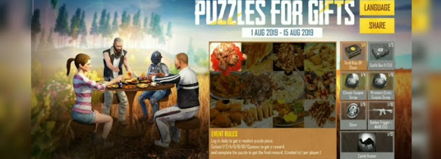 Skin Crate Gratis Event 'PAZZLES FOR GIFTS' Pubg Mobile