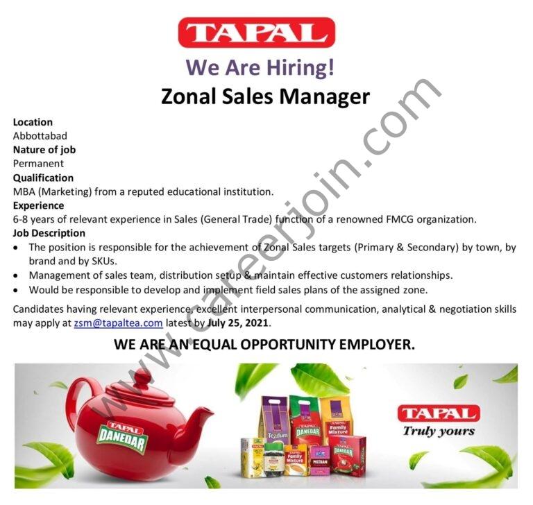 zsm@tapaltea.com - Tapal Tea Pvt Ltd Jobs 2021 in Pakistan