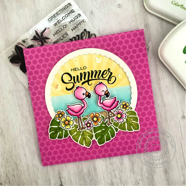 Sunny Studio Stamps: Radiant Plumeria Fabulous Flamingos Fancy Frame Dies Woodland Border Dies Summer Themed Card by Tammy Stark