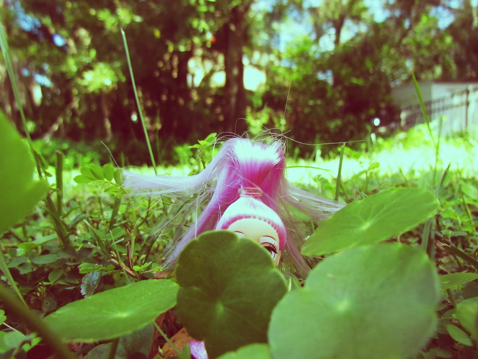 A pink fairy toy doll hiding in the green grass and clovers with bright pink hair
