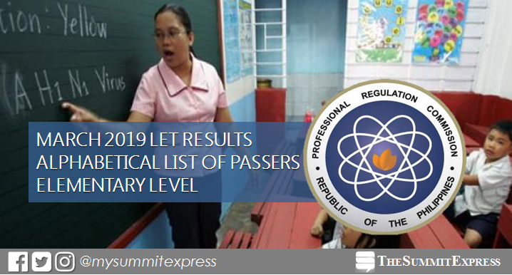 March 2019 LET Results Elementary: Alphabetical List of Passers