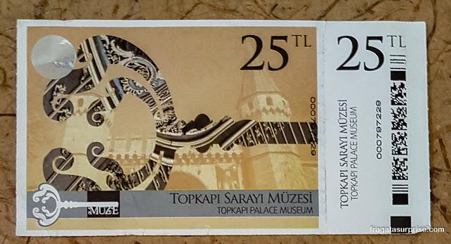 Ingresso para o Palácio de Topkápi, Istambul, Turquia