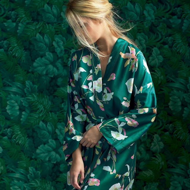 Kimono Yves Delorme  en satin de coton